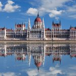 16217992 – budapest – hungarian parliament with reflection in danube river