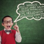 28387724 – education concept: schoolboy learn universal language at class