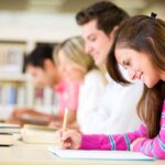 14197175 – group of students taking a test at the university